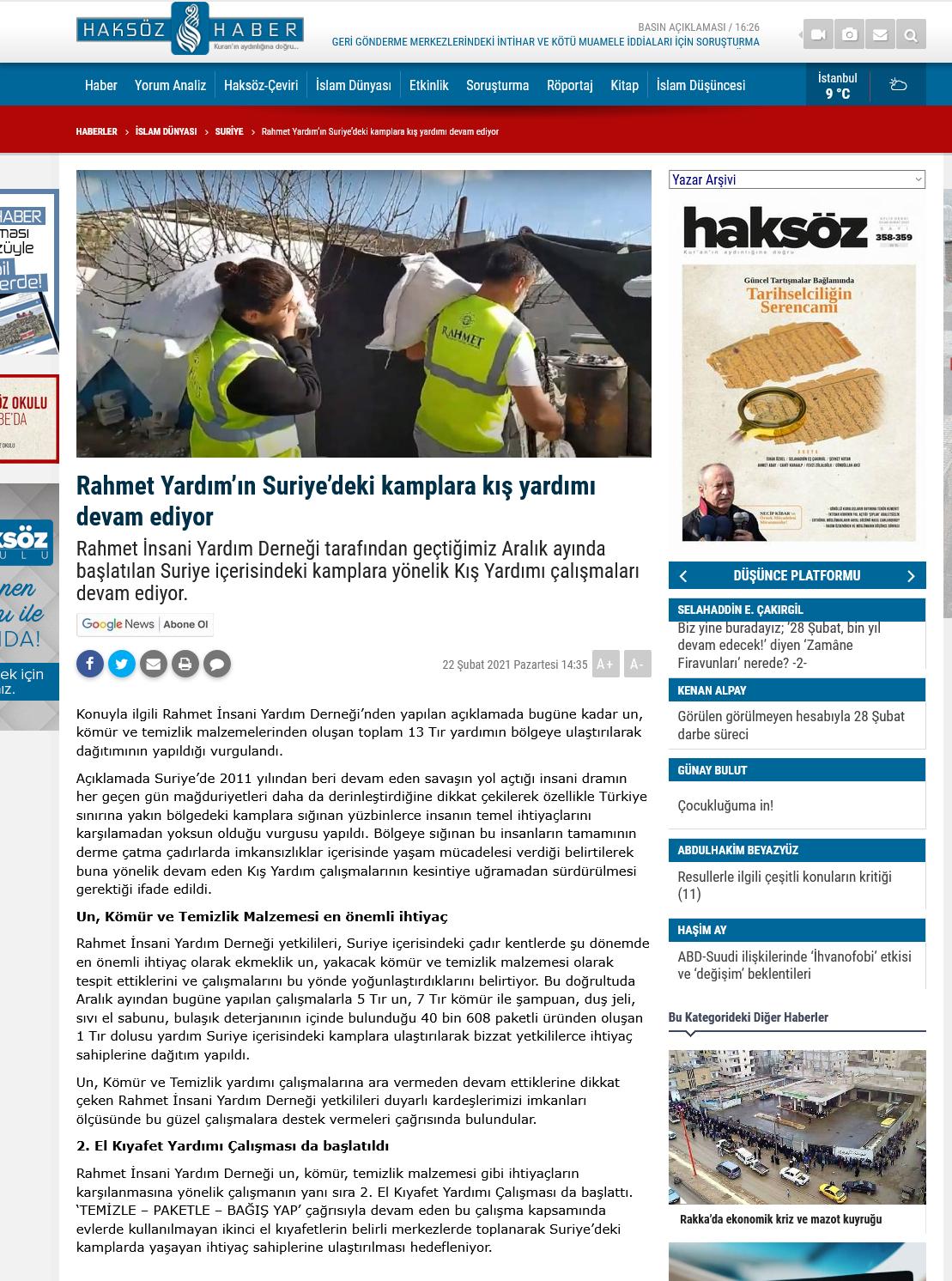 Screenshot_2021-03-01 Rahmet Yardım'ın Suriye'deki kamplara kış yardımı devam ediyor